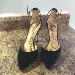 Sam Edelman HARLOW Black Suede Heels Ankle strap
